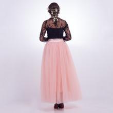 7 Layers Long Skirts 2018 Summer Tulle Skirt Ball Gown Elastic Waist Pleated Women Fluffy Tutu Skirt Lolita faldas saias jupe
