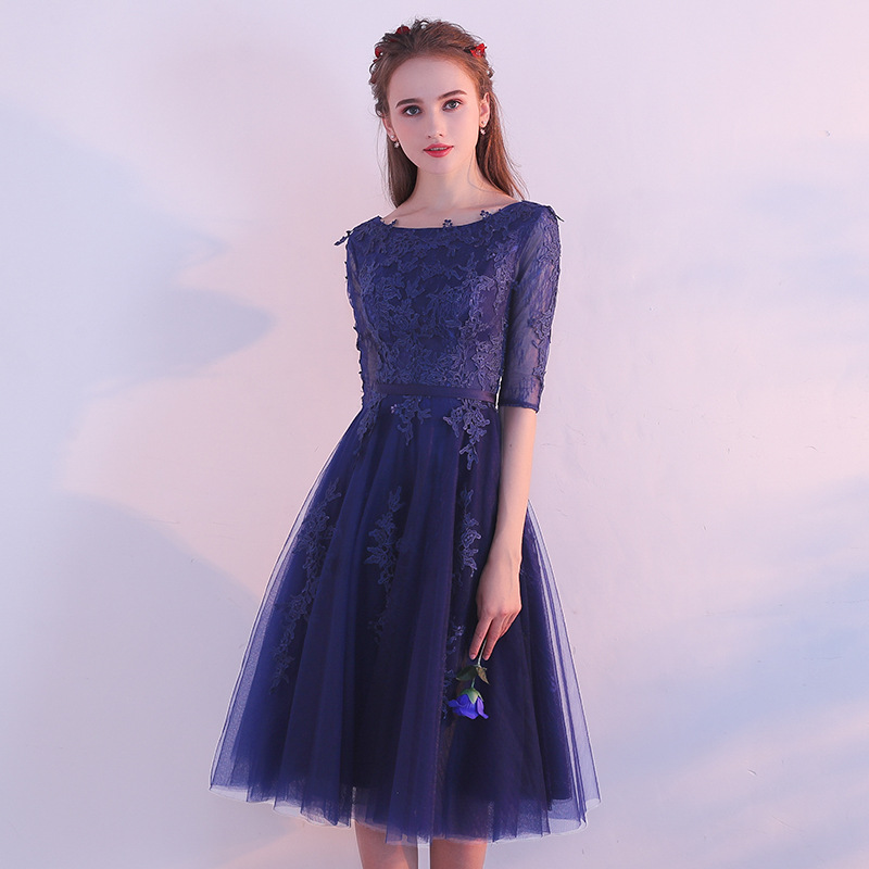 It's Yiiya O-Neck Half Sleeve Elegant Slim Evening Dresses Lace Tulle Flowers Party Formal Dress Prom Dresses LX396