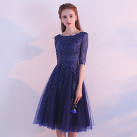 It's Yiiya O Neck Half Sleeve Elegant Slim Evening Dresses Lace Tulle Flowers Party Formal Dress Prom Dresses LX396