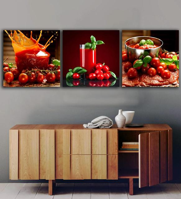 Fruit Wall Decor online shop 3 panels tomatoes juice paintings for the kitchen