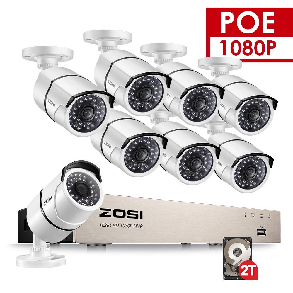 ZOSI POE Video Kamera 8 Kanal CCTV Sistemi 1080 P Bullet Kamera 2MP Gözetim Güvenlik DVR Kiti Nightvision HDD