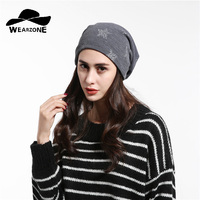 2017 Fashion Knitted Hat Female Five Pointed Star Thick Winter Hats Women Cotton Beanies New Warm
