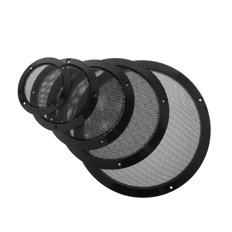 2PCS Protective Speaker Cover Steel Mesh Grille Grills Decorative Circle DIY Accessories Black