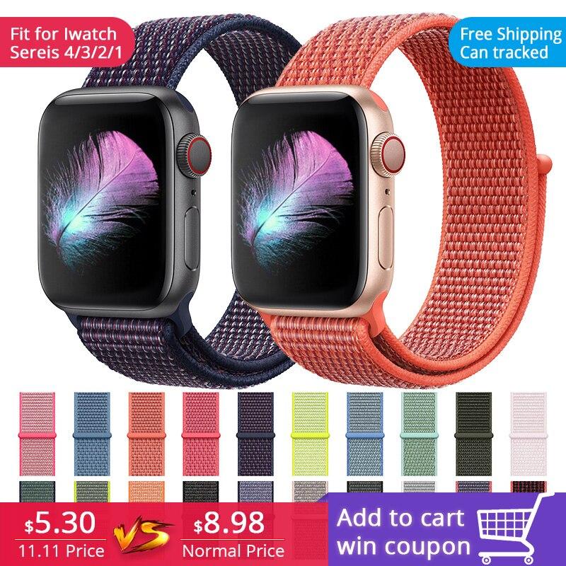 Última actualización correas de correa de nailon tejidas para iWatch Apple Watch sport loop pulsera y banda de tela 38mm 42mm serie 1 2 3