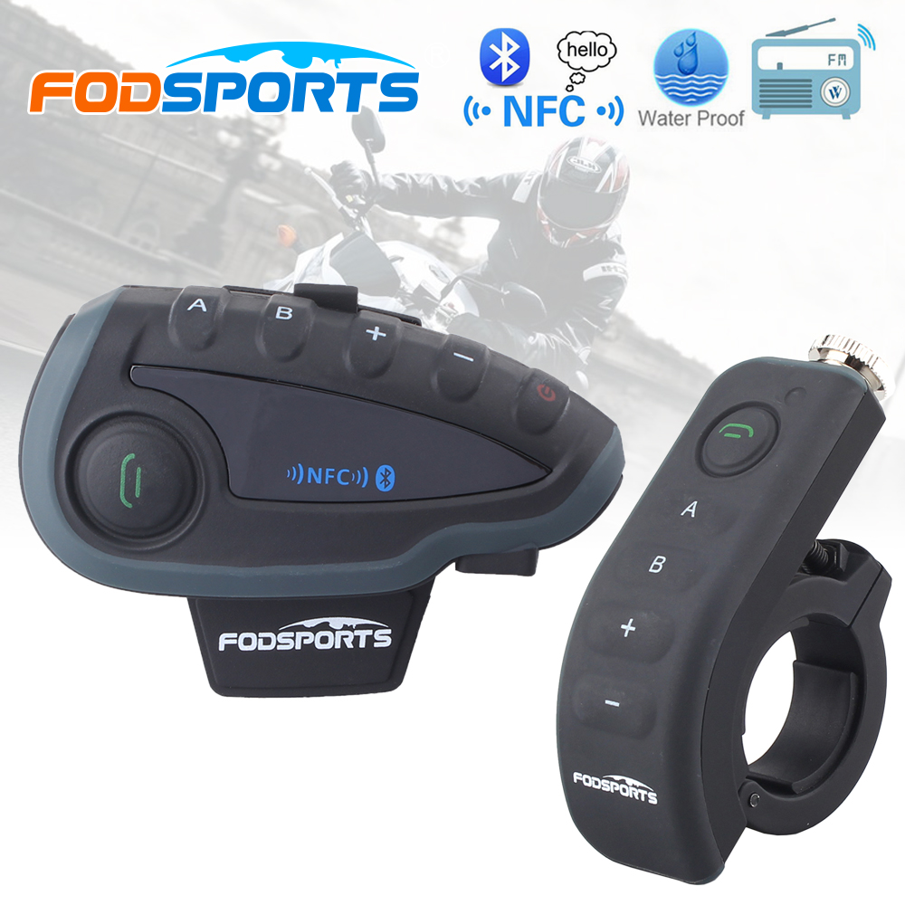 Fodsports V8 Pro BT Interphone with Controller FM NFC Motorcycle Helmet Bluetooth Intercom 5 Rider 1200M Intercomunicador moto vnetphone 5 riders capacete cascos 1200m bt bluetooth motorcycle handlebar helmet intercom interphone headset nfc telecontrol