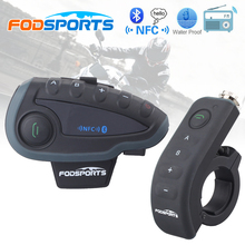 Fodsports V8 Pro BT Interphone with Controller FM NFC Motorcycle Helmet Bluetooth Intercom 5 Rider 1200M Intercomunicador moto