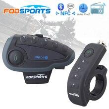 Fodsports v8 pro interfone bt moto rcycle capacete fone de ouvido bluetooth intercomunicador moto com fm nfc