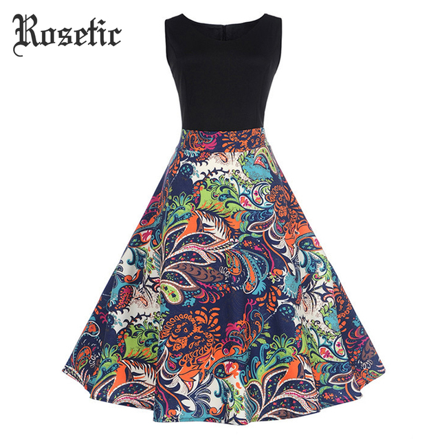 Rosetic Woman Gothic Vintage Dresses A-Line Sleeveless Pullover Print Fashion Travel Party Sex Girl Goth Casual Trumpet Dress