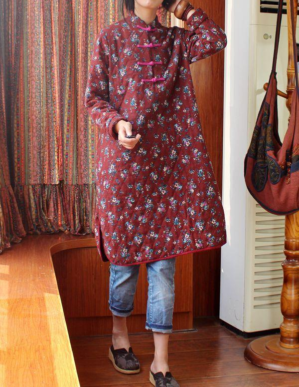 Original spring and autumn double sided sanding quilted cotton folk style coat thin coat