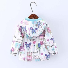 2017 Spring Autumn Cartoon Graffiti Baby Girl Jackets Coats Hooded Windbreaker For Girls Boys Toddler Kids Outerwear