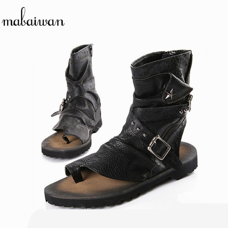 Mabaiwan New Punk Casual Men Sandals Summer Ankle Boots Leather Gladiator Shoes Men