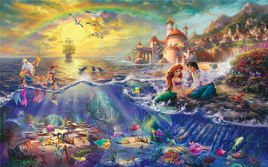 Thomas kinkade the little mermaid prints art print on canvas home decoration wall art free shipping