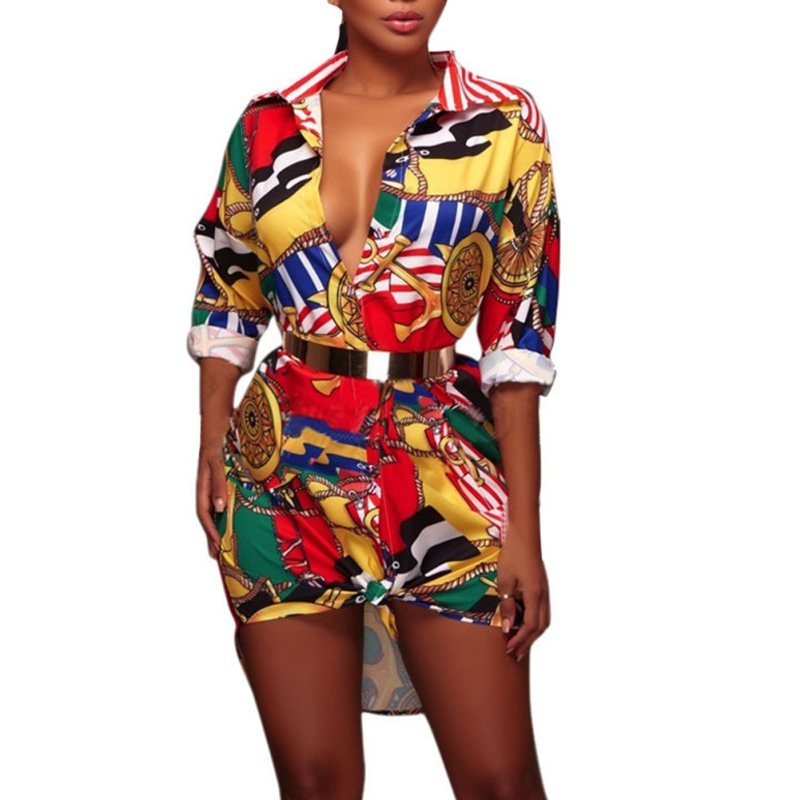 Y Boho Casuales Túnica Otoño Tops Mujeres cuello Camisas V Señoras Vintage De Camisa Manga Floral Sexy Las Estampado Blusas Larga Elegante wZwOx