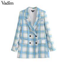 Vadim women chic plaid blazer long sleeve pockets double breasted coat vintage female