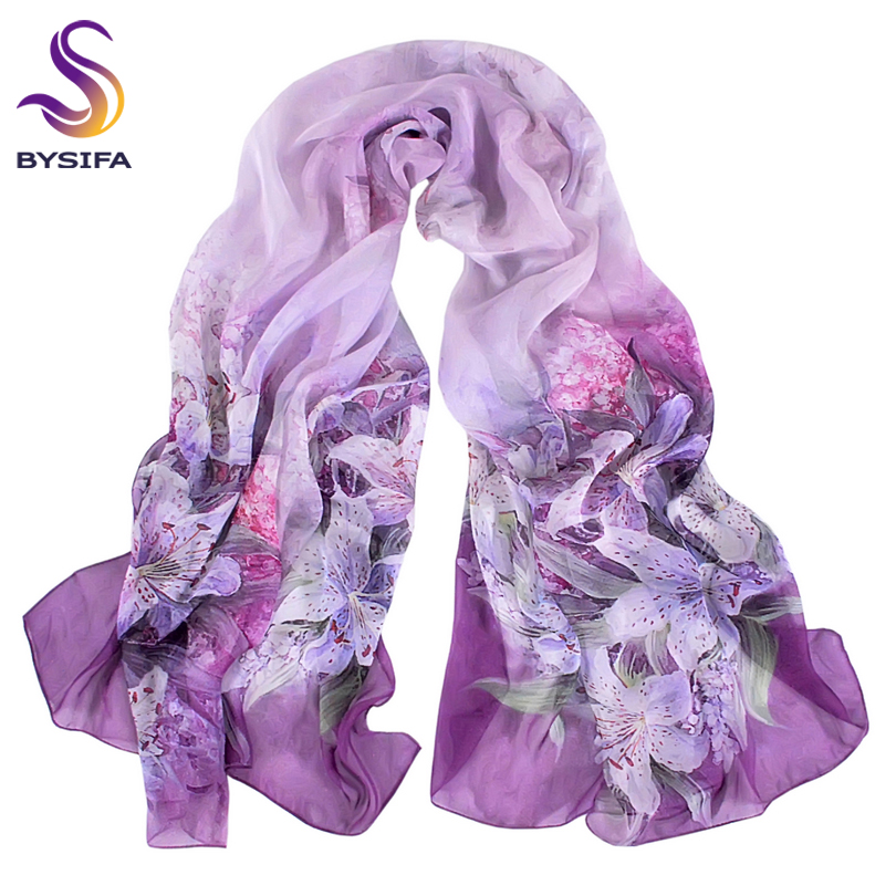 [BYSIFA] Autumn Winter Long Silk   Scarf   Shawl Female Long 100% Mulberry Silk   Scarf   Summer Thin Silk Chiffon Beach   Scarf     Wraps