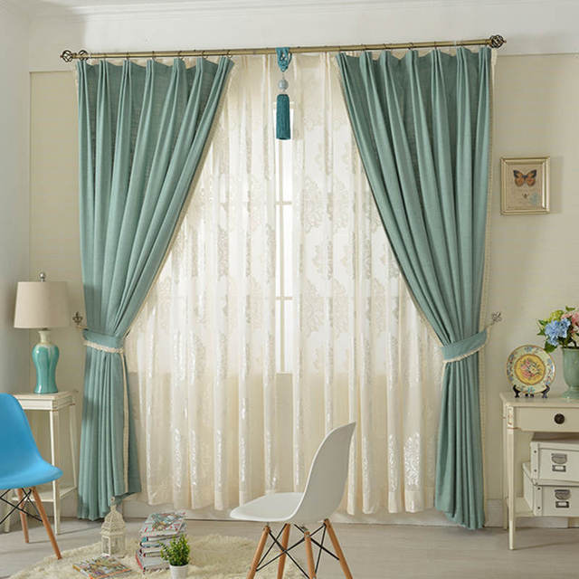 Custom Curtains Clean Simple American Country Modern Cotton And Linen Living  Room Bedroom Shade Pure Color