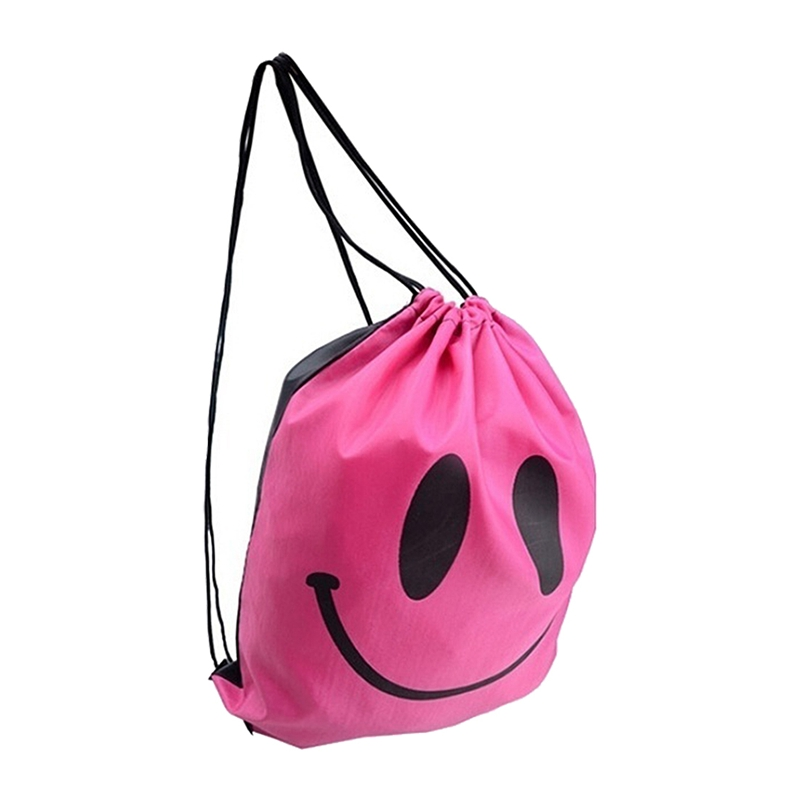 Smile Outdoor Backpack  Drawstring Waterproof Bag Rose Red