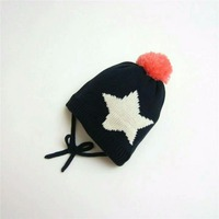 Kids Girl Winter Knitted Warm Hat Star Pattern With Ball On Top Cap For Kids Girl