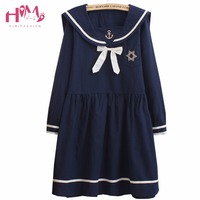 European Style College Solid Color Sailor Collar Dress Dress Bow Embroidery Dress For Girls 2015 Hottest