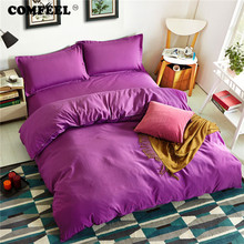 hot deal buy comfeel blue classic brief bedding set solid color cotton duvet cover bedsheet pillowcases bedding set four seasons home textile