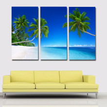 3 Pieces Tropics Palma Beach And Coconut Tree Canvas Art Painting Print Poster Blue Sky Picture For Home Decoration Living Room(China)