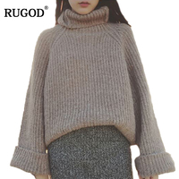 RUGOD Thick Warm Turtleneck Sweater Women 2018 Autumn Winter Batwing Sleeve Knitted Pullover Casual Vertical Striped Jumpers