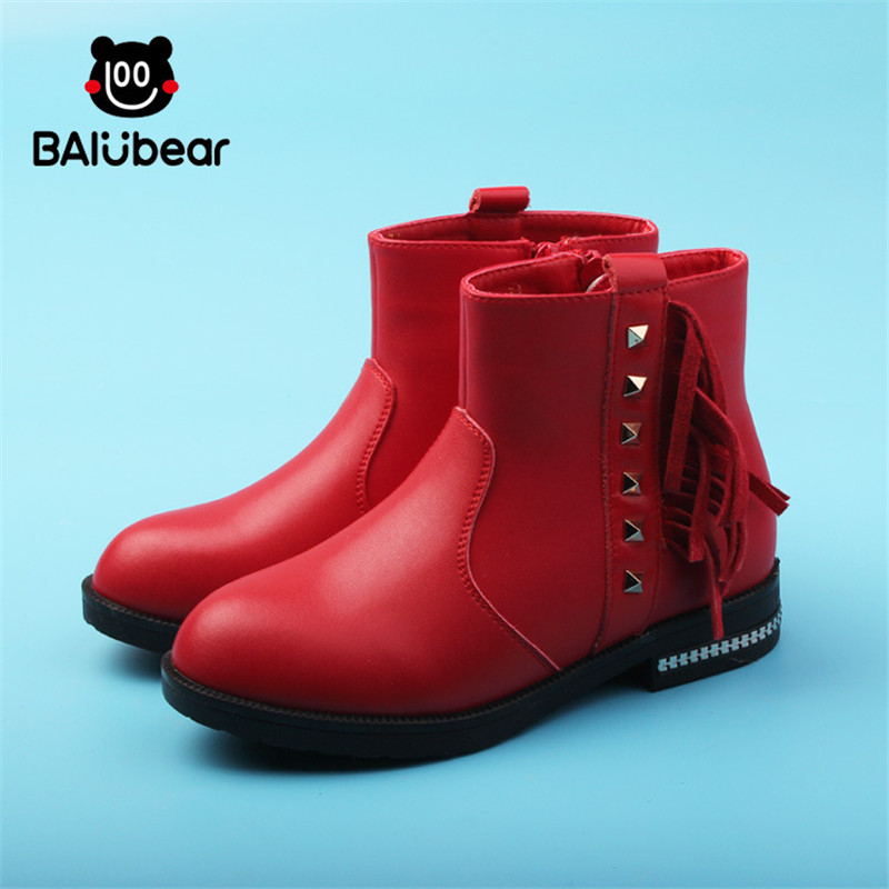 leather Brand Warm Girls Snow Boots With Bow tie Warm Plush Kids Boots Winter Boots Children High Boot for Girls Shoes ZIP kelme 2016 new children sport running shoes football boots synthetic leather broken nail kids skid wearable shoes breathable 49