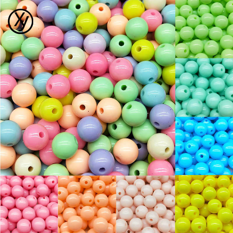 DIY 30-200pcs/lot 3-12mm New Hot Fashion Explosion models Mixed Round Acrylic Spacer Beads Jewelry making for Bracelet Necklace