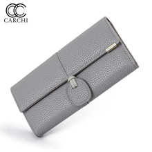CARCHI High Capacity Fashion Women Wallets Long Dull Polish Retro PU Leather Wallet Female Cell Phone Coin Purses Card Package