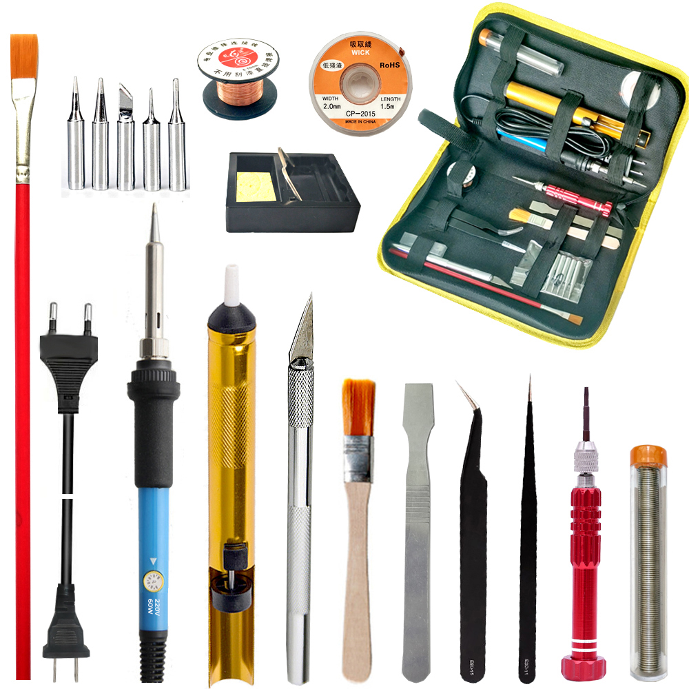 YH soldering iron set adjustable temperature soldering irons strong suction gun wire welding tool set 110-220V 60W electric iron 220v 60w adjustable temperature soldering iron welding gun heating pencil eu plug electric soldering irons drop ship
