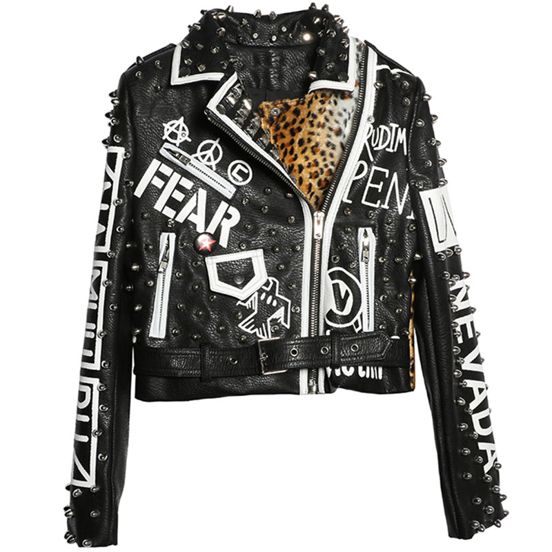 Chaqueta de cuero de manga larga abrigo de motocicleta remache leopardo empalmado Cool motocicleta Chaqueta corta Punk Rock PU abrigo femenino-in chaquetas básicas from Ropa de mujer    1