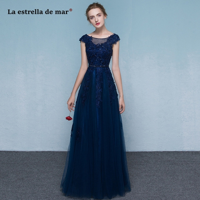 Vestido madrinha2018 new lace cap sleeve A Line navy blue red bridesmaid  dresses long elegant wedding guest dress 67f69f05eb65