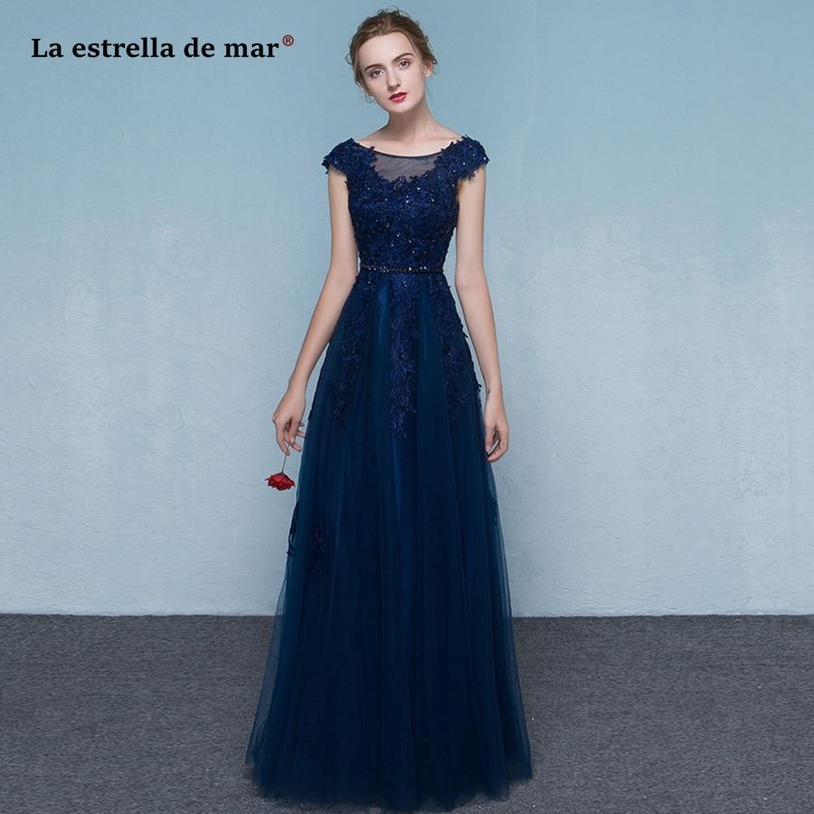 Vestido madrinha2018 new lace cap sleeve A Line navy blue red   bridesmaid     dresses   long elegant wedding guest   dress