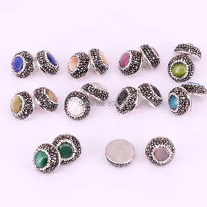 Image 1 - 12Pair Round shape pave crystal rhinestone mix color cat eye stone stud earrings fashion jewelry finding