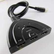 Frete grátis 3 maneiras hdmi splitter swich switcher de vídeo hd hub trabalho para full 1080 p hdmi 1.4 hdtv laptop ps projetor