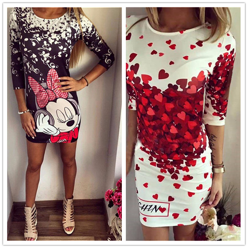 5XL Large Size Women Sweet Cartoon Dress Casual Print Dress Sexy Slim Party Dresses Sexy Summer Plus Size Women Dress Vestidos