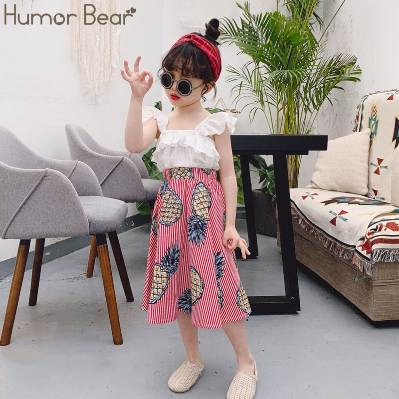 Humor Bear Girls Clothing Set 2020 Korean Summer New Ice Cream Bow Top T-shirt+Pants Kids Suit Toddler Baby Children's Clothes 8