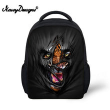 Noisydesigns Mask Animal 3D print Back Packs 12 inch School Bags for boys for Kindergarten Book Bag Black Cool Fierce Beast(China)