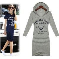 Plus Size XXXL Women Spring 2014 Brands Design Casual Dresses Long Sleeve Pullover Slim Cotton Letters