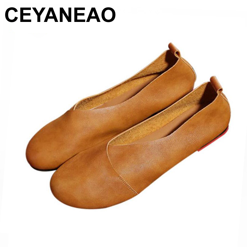 CEYANEAO New Summer Autumn Fashion Handmade Shoes Flat Shoes Vintage Genuine Leather Women Flats Girl Loafer sapato feminino k21 summer women flats new fashion pu leather shoes moccasins comfortable loafer cut outs leisure 2017 flat women casual shoes dt948
