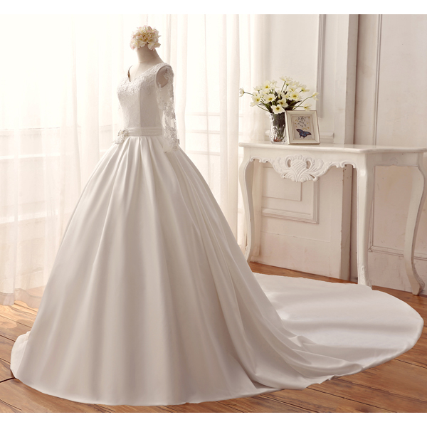 Popular Long Sleeve Wedding Dress Pattern-Buy Cheap Long