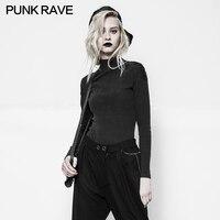 2017 nuevo estilo punk rave gótico Nuevo Punk Rock Negro de manga larga de moda sexy camiseta OPT-116