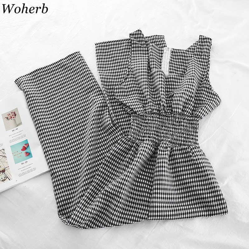 Woherb 2020 pantalones de pierna ancha de verano mujeres sin mangas tanque mono overol a cuadros coreano casual femenino Playsuits monos largos