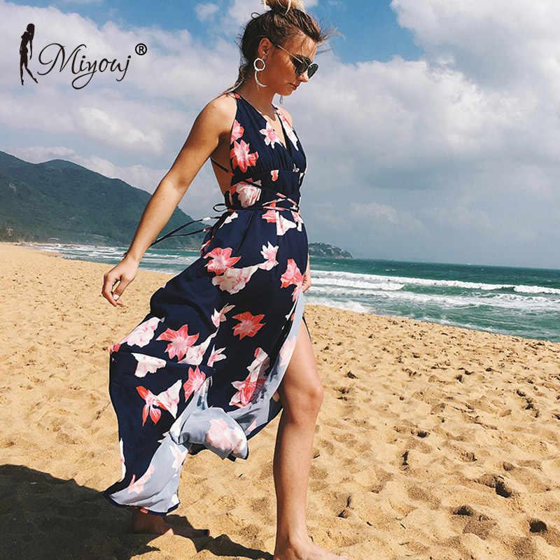 676f53bb36 Miyouj V Neck Beach Dress Chiffon Long Beachwear Women Mixi Dresses Halter  Swimsuit Backless Beach Tunic