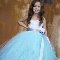 Нарядное бирюзовое платье с цветком для девочек вечернее платья-пачка для маленьких девочек праздничное платье подружки невесты красивое ...