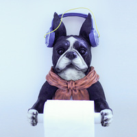 Fashion Puppy Toilet Roll Holder Has Individuality Creative Kitchen Paper Rack Wall Mount Bathroom Box Resin Made