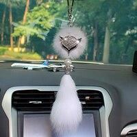 Car Pendant Fashion Double Sided Diamond Fox Head Auto Rearview Mirror Soft Fluffy Fox Fur Charm