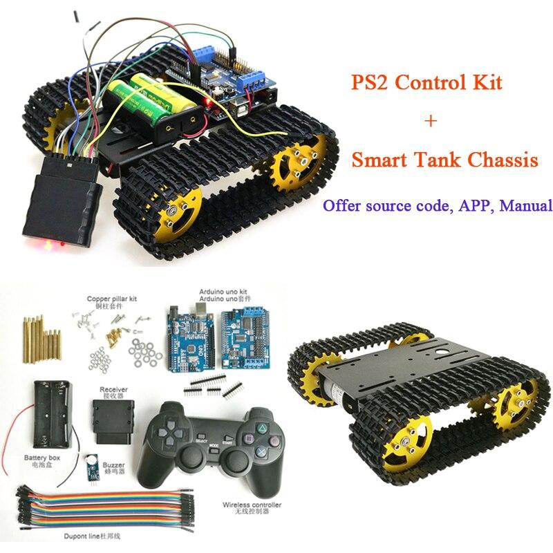 PS2 Joystick Control Smart Tank Chassis Dual DC 12V Motor+Arduino Board DIY T101