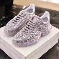 Повседневное обувь Bling Для женщин zapato de mujer кристаллы белые кроссовки на платформе без застежки; chaussures femme со стразами, из натуральной кожи; м...