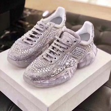 Casual Bling Shoe Women zapato de mujer Crystals White Sneaker Platform chaussures femme Rhinestone Real Leather Fashion Shoes